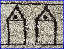 100% Authentic Azilal Moroccan Rug Wool Beni Ourain vintage Carpet 5'9 x 2'7