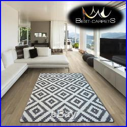 AMAZING THICK MODERN RUGS SKETCH Squares GREY WHITE F998 LARGE SIZE BEST-CARPETS