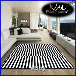 Amazing Thick Modern Rugs Sketch White Black F132 Stripes Size Best-carpets