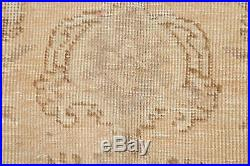 Antique Geometric Muted EVENLY WORN Distressed Area Rug Hand-Knotted Wool 7'x10