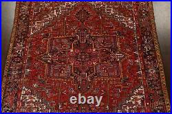 Antique Geometric Vegetable Dye Heriz Serapi Hand-knotted Area Rug RED 9'x12