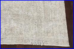 Antique Muted Distressed Tebriz Area Rug Hand-Knotted Evenly Low Pile WOOL 9x12