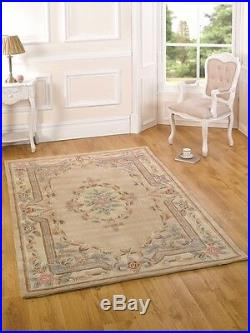 Beige French Style Vintage Floral Mat Thick Premium Quality Shabby Chic Wool Rug