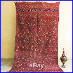 Beni Ourain Boucherouite Style 10'1x5'9 Moroccan Vintage Rug All Wool Carpet