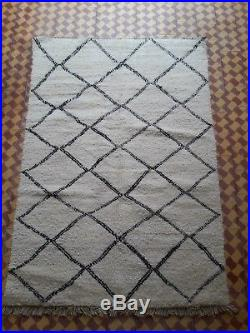Beni Ourain Rug 7 Ft 10 x 5 Ft 4 Moroccan Rug Handmade Authentic Wool Carpet