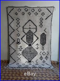 Beni Ourain Rug 7 Ft 8 x 4 Ft 11 Moroccan Rug Handmade Authentic Wool Carpet