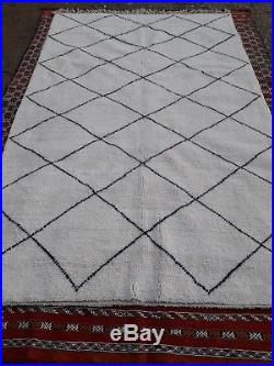 Beni Ourain Rug 9 Ft 10 x 6 Ft Moroccan Rug Handmade Authentic Wool Carpet
