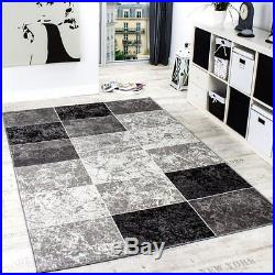 Black and Grey Rug Check Modern Pattern Carpet for Room & Hall Small Extra Large