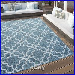 Blue Moroccan Trellis Outdoor Rug Washable Modern Living Room Rugs Hall Runners
