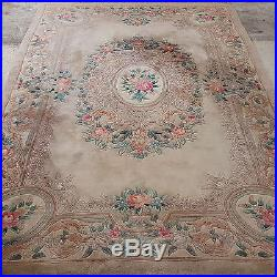Chinese Beige Washed Sculpted Fringed Carpet 9'11 x 6'1 (302x185cm Rug