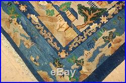 Circa 1910's ANTIQUE ART DECO VILLAGE LIFE SCENERY CHINESE RUG 8x9.5 ROOM SIZE
