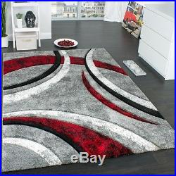 Designer Carpet With Contour Cut Striped Model In Grey Black And Red Mixture