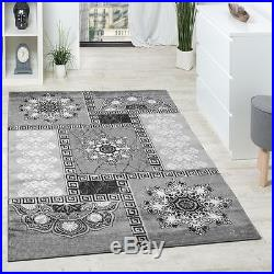 Designer Rug Carpet Traditional Grey Large Rugs Ornaments Design with Glitter