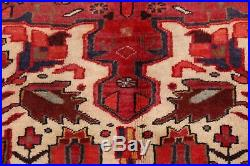 Excellent Geometric Heriz Runner Rug Hand-Knotted Red/Navy/Ivory Wool 3'x10