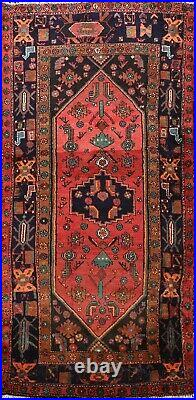 Excellent Vintage Hamedan Geometric Area Rug Hand-Knotted Traditional Carpet 4x7