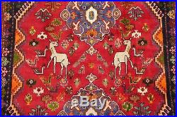 Geometric Tribal Animal Pictorial Abadeh Area Rug Hand-Knotted Oriental Wool 5x8
