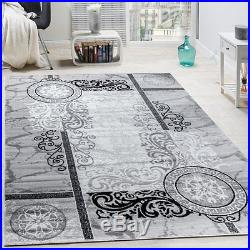 Grey Oriental Rug Floral Design Glitter Silver Effect Carpet Small Extra Large