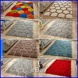 Large 3d Geometric Colourful Funky Thick Pile Hexagon Noble House 30782 Rug