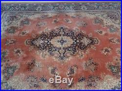 Large PERSIAN design CARPET RUG WOOL traditional style Pale pink 8ft 11 x 6ft 7