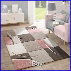 Living Room Rug Brown Beige Dusty Pink Geometric Checked Carpet Mat Small Large