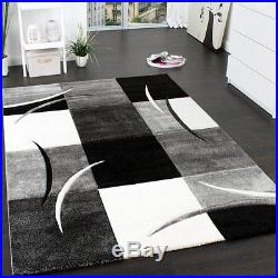 Luxury Grey Rug Living Room Bedroom Lounge Area Carpet White Stripes Small Large