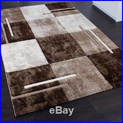 Modern Brown Rug Check Thick Carpet Dark and Light Tones Beige Small Extra Large
