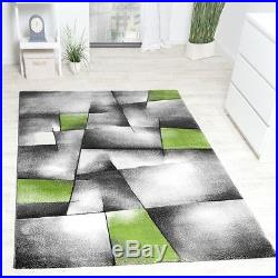 Modern Rug Carpet Abstract Design Living Room Mat Grey Green Small Large Rugs