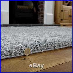 Modern Small Extra Large Grey Colour Thick 5cm Pile Non-shed Shaggy Rug Runners
