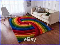 Multi Coloured Bright Rainbow Silky Shiny Thick Prism 3d Textured Shaggy Rug