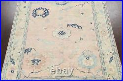Muted Geometric Floral Oushak Turkish Area Rug Vegetable Dye Hand-knotted 8x10