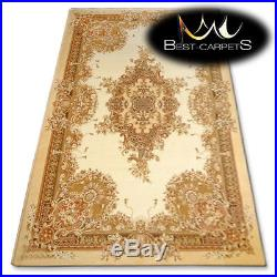 NATURAL WOOL AGNELLA RUGS gold flowers ISFAHAN thick and durable carpet