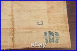 Natural Dye Beige Color Gabbeh Oushak Turkish Area Rug Hand-Knotted Wool 7'x9