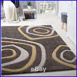 New Modern Rug Carpet Soft Pile Abstract Circles Living Room Small Large Rugs
