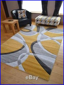 New Ochre Mustard Grey Modern Style Soft Thick Rug Small Extra Large Mat Cheap