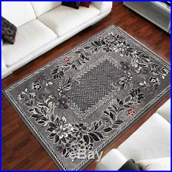 New Rug Modern Design Small Extra Large Soft Pile Roman Flowers Pattern Grey