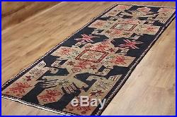 Old Wool Hand Made Persian Oriental Floral Runner Area Rug Carpet 278 X 105 CM