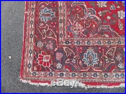 Old large worn persian vintage rug carpet oriental wool hand knotted 132 x 210cm