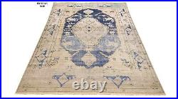 Oushak orintal Area Rug 8' x10' Wool Hand Made / Knotted New Distressed Blue