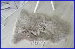 Real Fluffy Super Soft Wool Single Sheepskin Rug Dyed Silver Ash Tan Mix Color
