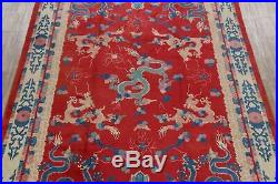Red Dragons Art Deco Chinese Oriental Area Rug Pictorial Hand-Knotted Red 9x12