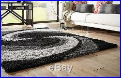 Small Extra Large Thick Grey Silver Black Spiral Swirl Shaggy Shag Pile Rug