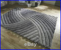 Small Large Heavyweight Thick Soft Carved Pile Silver Grey 3d Verge Furrow Rug
