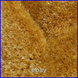 Small Large Ochre Mustard Yellow Thick Soft Carved Pile 3d Verge Furrow Rug