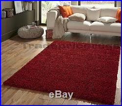 Small-extra Large Thick Shaggy Shag Pile Dark Red Burgundy Rug Clearance