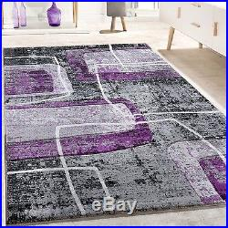 Stylish Living Room Rug Fancy Abstract Design Carpet In Grey Black - Grey and lilac living room