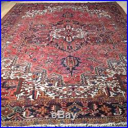 Superb VERY Large PERSIAN RUG CARPET Hand made HERIZ in WOOL 12ft 2 x 8ft 10
