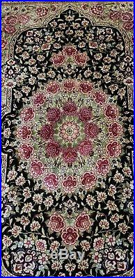 Top Quality Persian Hand-knotted Carpet Rug Ghom Natural Silk Size120 X 78cm