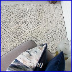 Traditional Cream Grey Rug Quality Carved Bedroom Soft Rugs Moroccan Trellis Mat