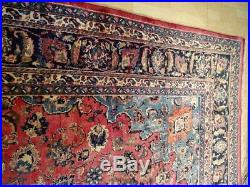 VERY Large RUG CARPET Persian MESCHED hand made WOOL antique c1940 12ft x 8ft 7