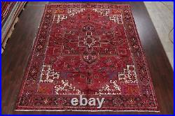 VINTAGE Excellent Geometric Heriz RED Area Rug Hand-Knotted Living Room 10'x13